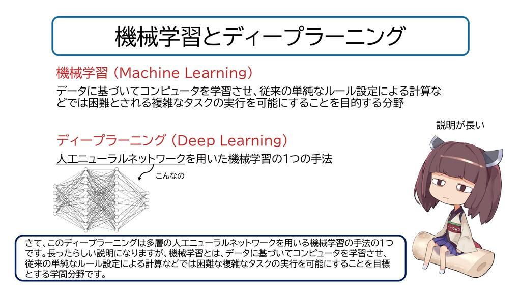 機械学習とディープラーニング 機械学習 (Machine Learning) データに基づいて...