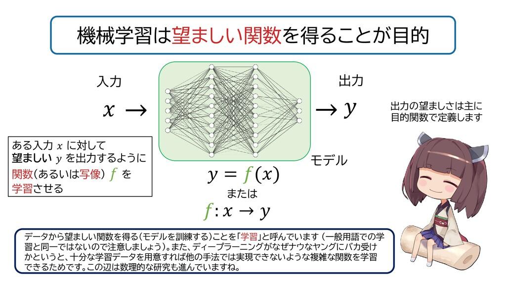 機械学習は望ましい関数を得ることが目的    = () :  →  または 入力 出力の望まし...