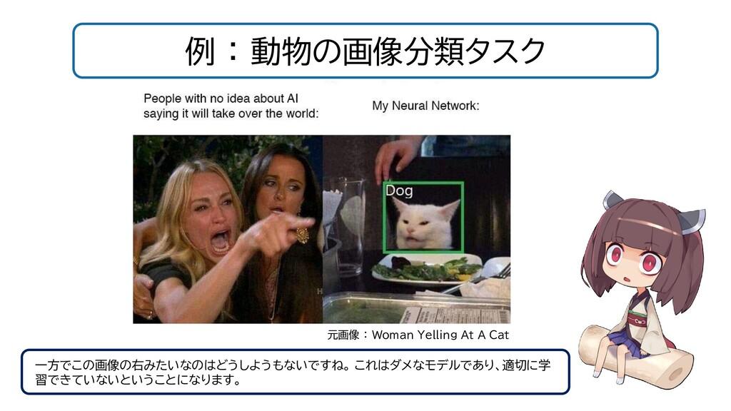 例 : 動物の画像分類タスク 元画像 : Woman Yelling At A Cat 一方で...