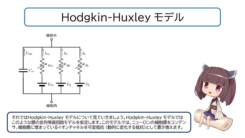 Hodgkin-Huxley モデル それではHodgkin-Huxley モデルについて見て...