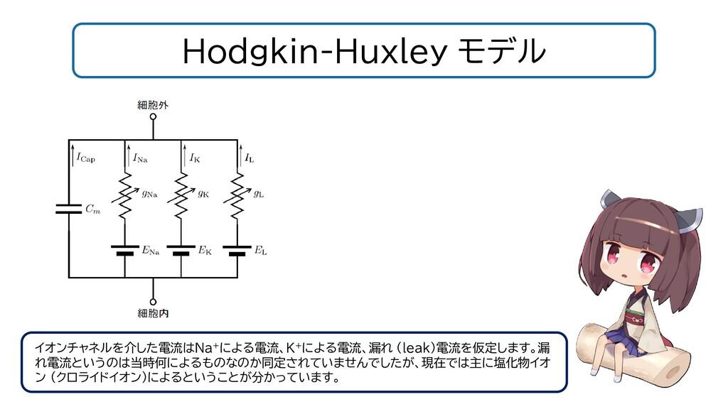 Hodgkin-Huxley モデル イオンチャネルを介した電流はNa+による電流、K+による...