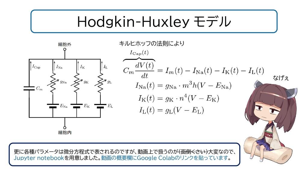 Hodgkin-Huxley モデル 更に各種パラメータは微分方程式で表されるのですが、動画上...