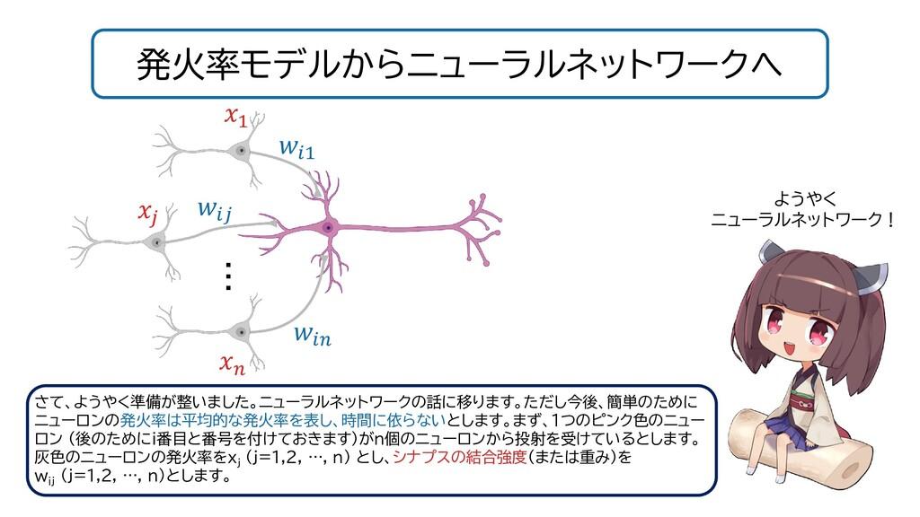 発火率モデルからニューラルネットワークへ ようやく ニューラルネットワーク! 1 さて、ようや...