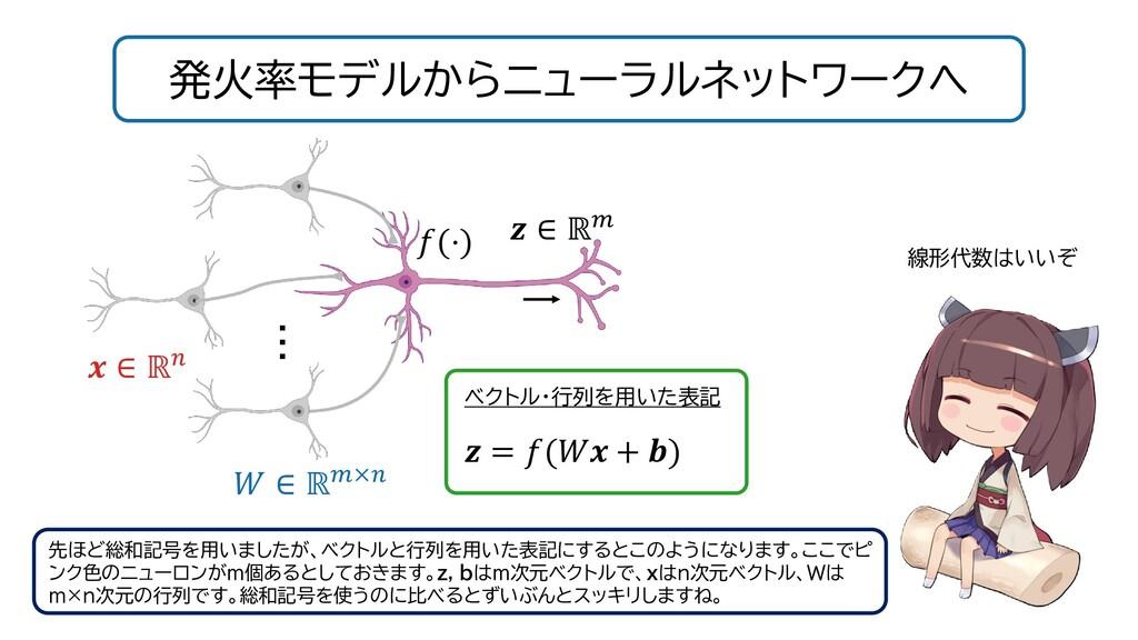 発火率モデルからニューラルネットワークへ 線形代数はいいぞ 先ほど総和記号を用いましたが、ベク...