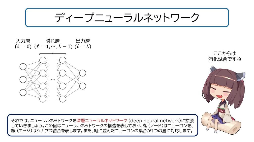 ディープニューラルネットワーク それでは、ニューラルネットワークを深層ニューラルネットワーク ...