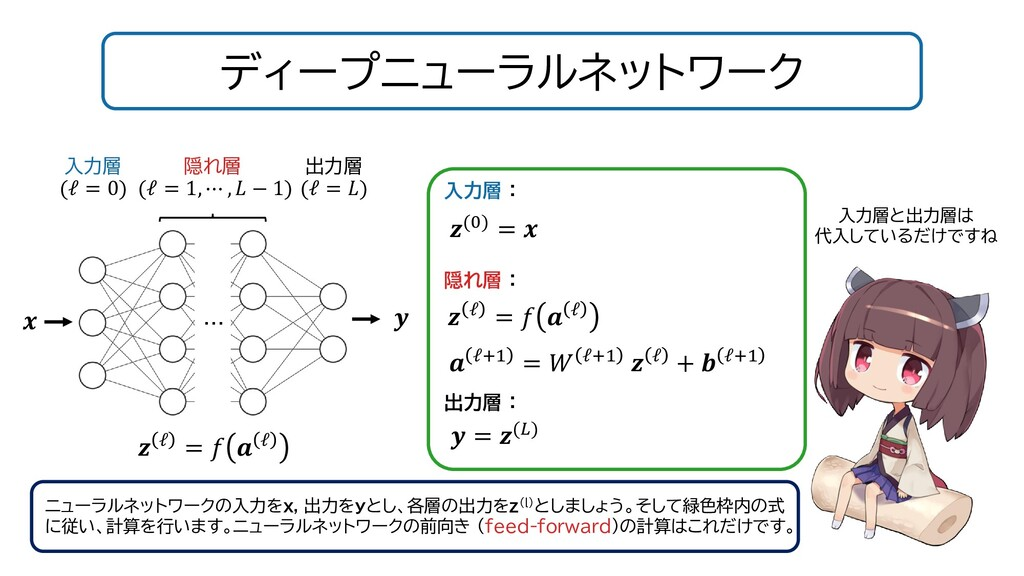 ディープニューラルネットワーク ニューラルネットワークの入力をx, 出力をyとし、各層の出力を...