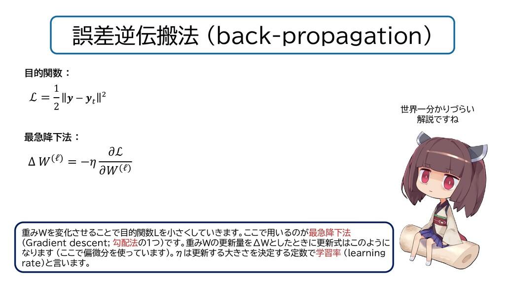 誤差逆伝搬法 (back-propagation) 重みWを変化させることで目的関数Lを小さく...