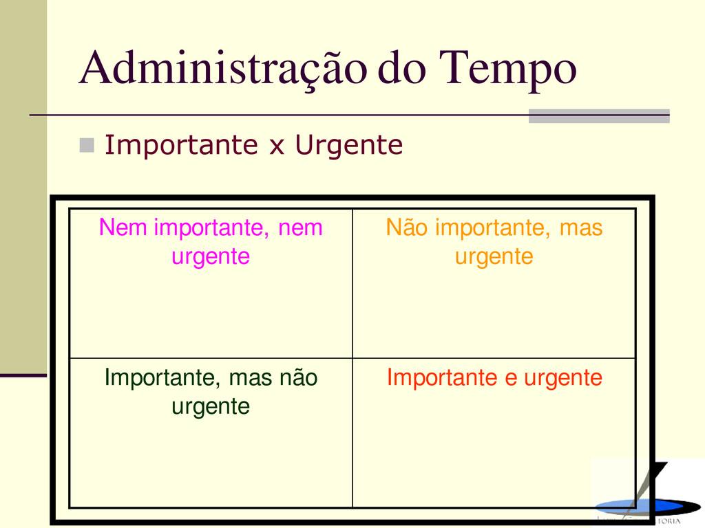 Administração do Tempo  Importante x Urgente N...