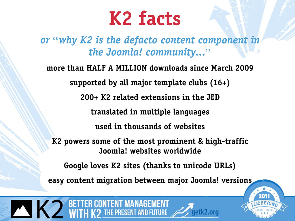 "K2 facts or ""why K2 is the defacto content comp..."