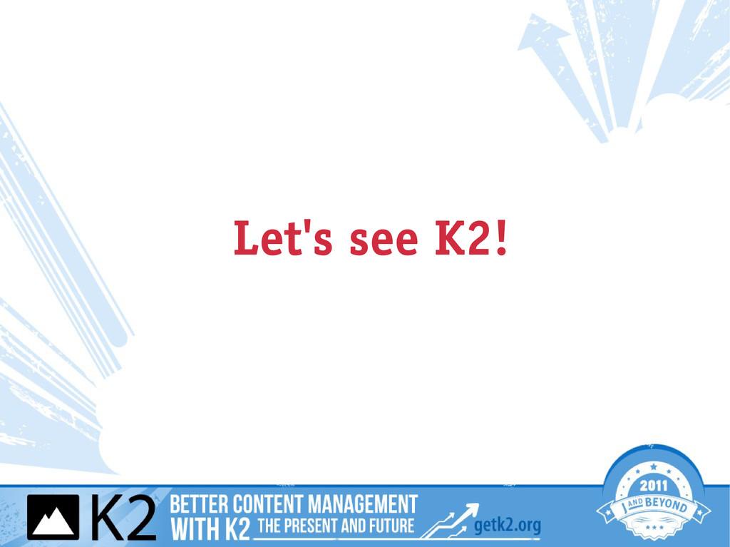 Let's see K2!