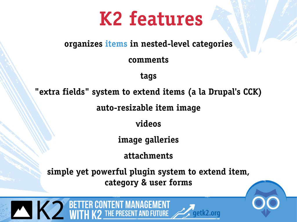 K2 features organizes items in nested-level cat...
