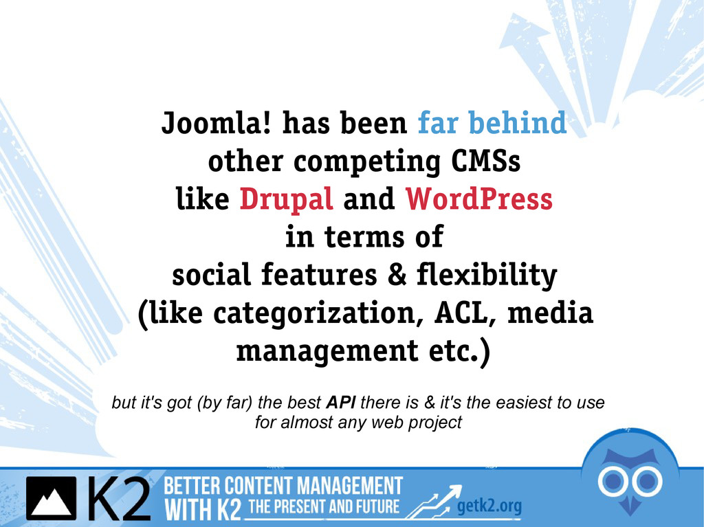 Joomla! has been far behind other competing CMS...
