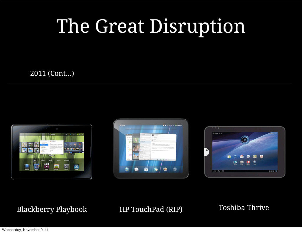 2011 (Cont...) The Great Disruption HP TouchPad...