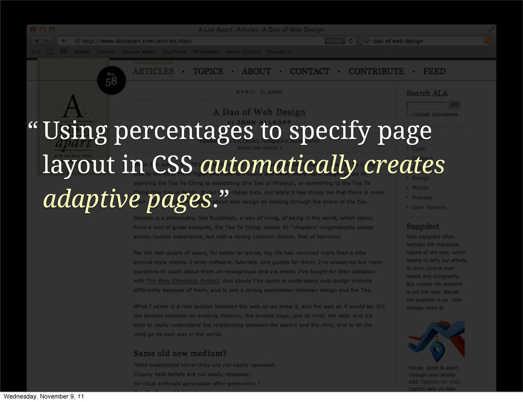Using percentages to specify page layout in CSS...