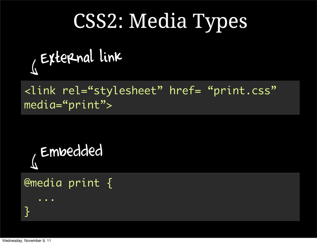 "@media print { ... } <link rel=""stylesheet"" hre..."