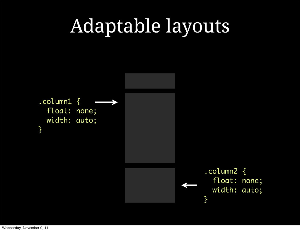 Adaptable layouts .column1 { float: none; width...