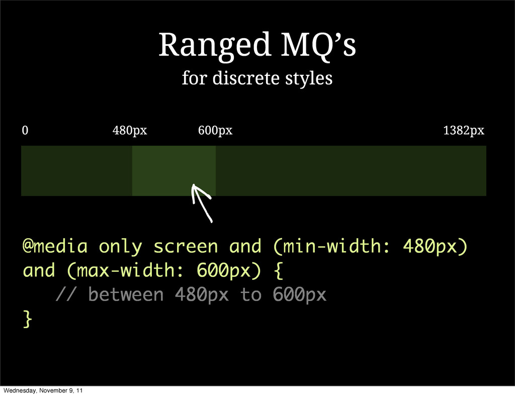 Ranged MQ's @media only screen and (min-width: ...