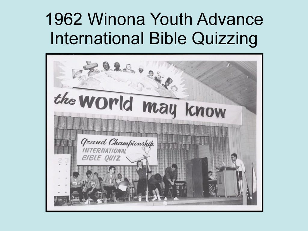 1962 Winona Youth Advance International Bible Q...