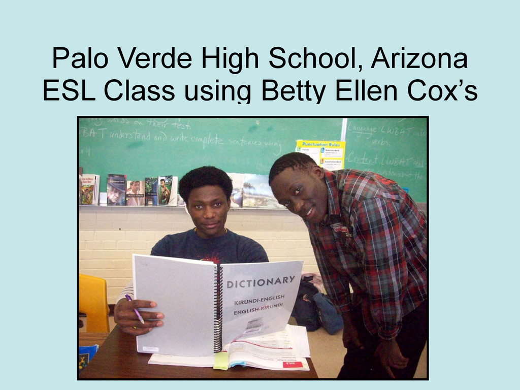 Palo Verde High School, Arizona ESL Class using...