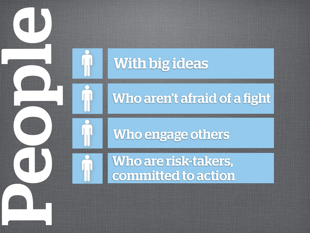 Who are risk-takers, committed to action Who en...