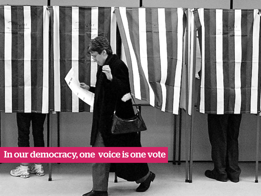 In our democracy, one voice is one vote