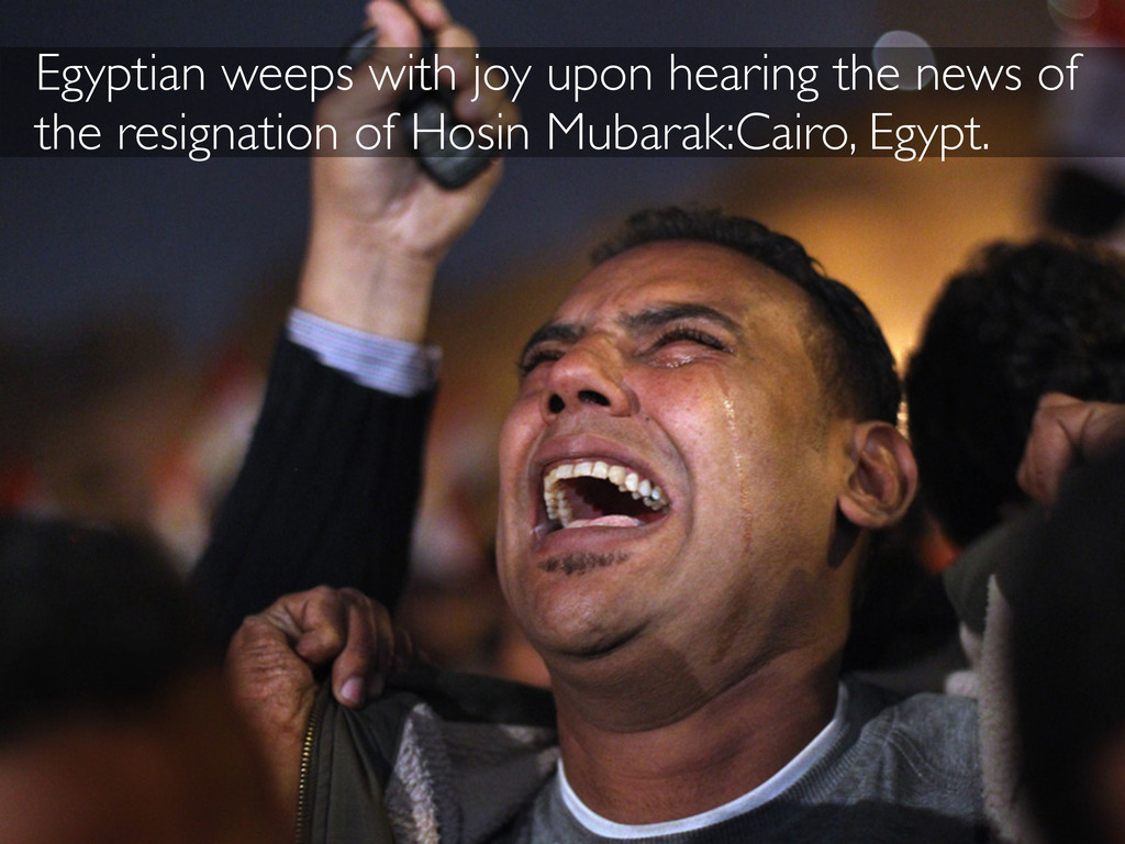 Egyptian weeps with joy upon hearing the news o...