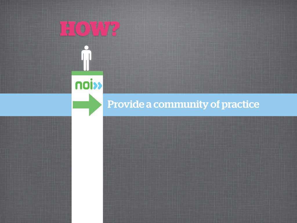 HOW? Provide a community of practice