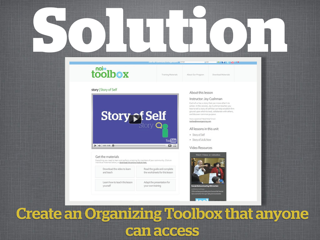 Solution Create an Organizing Toolbox that anyo...