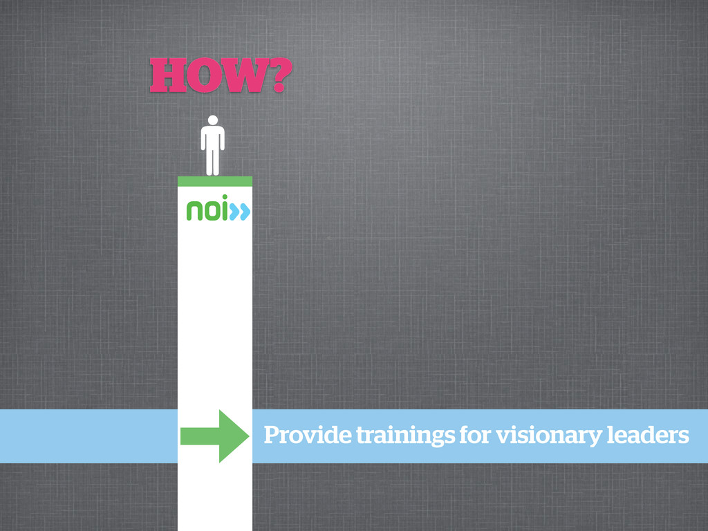 Provide trainings for visionary leaders HOW?