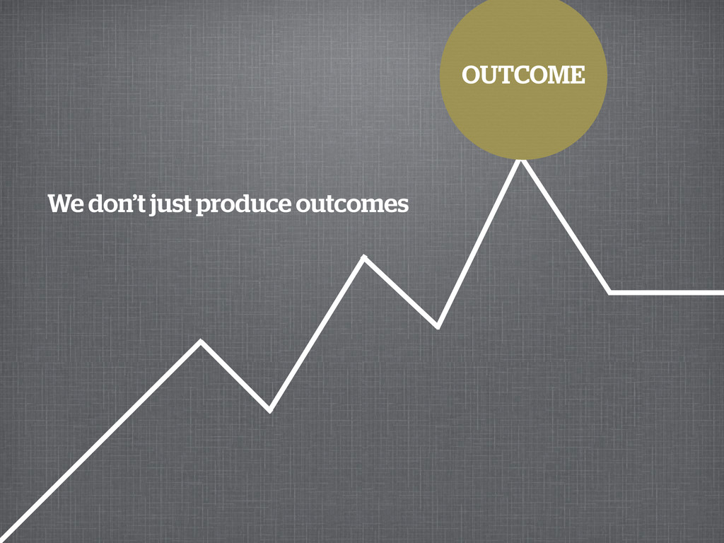 OUTCOME We don't just produce outcomes
