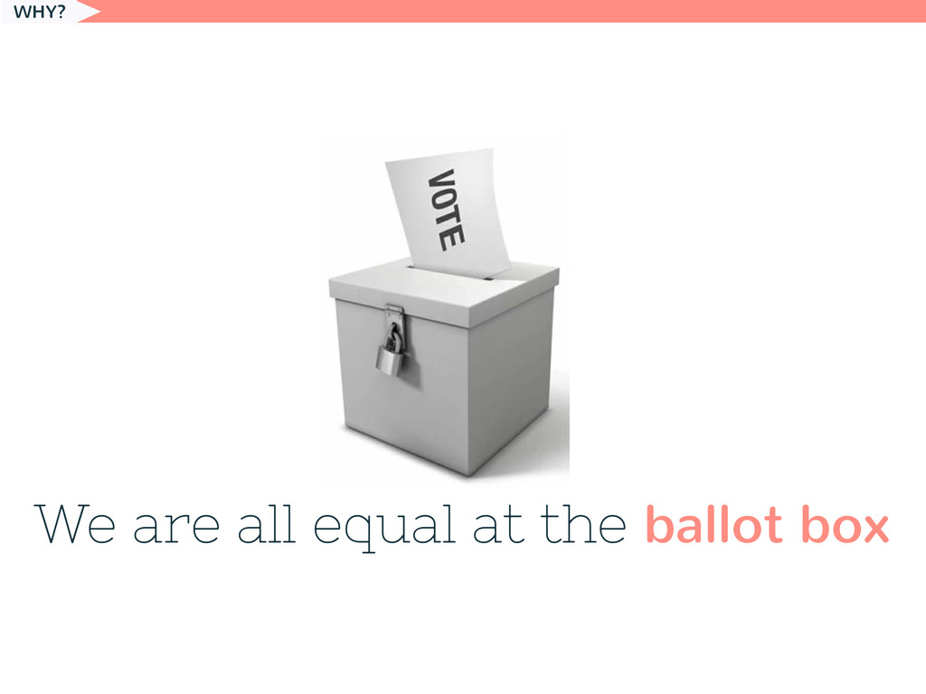 We are all equal at the ballot box WHY?