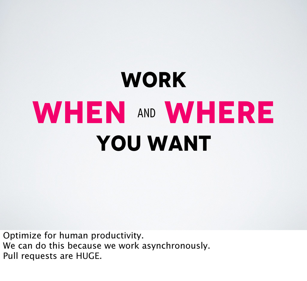 work when where you want and Optimize for human...