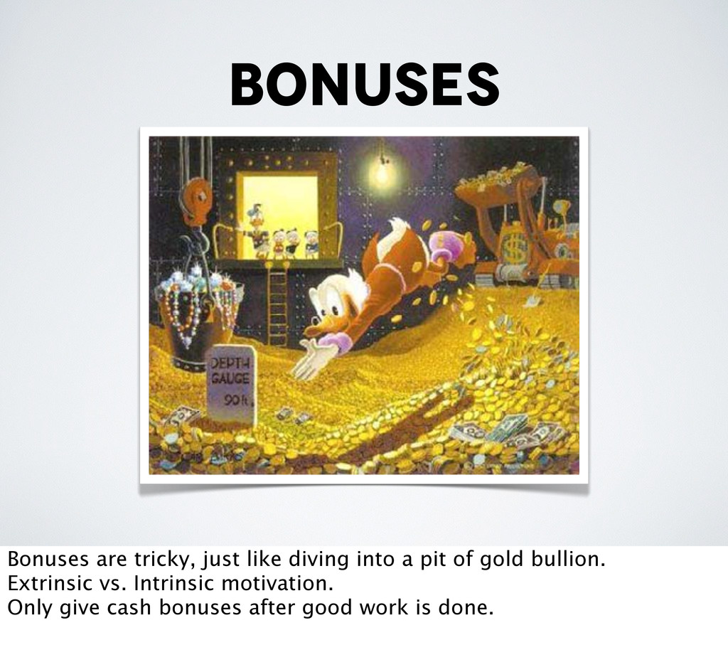 bonuses Bonuses are tricky, just like diving in...