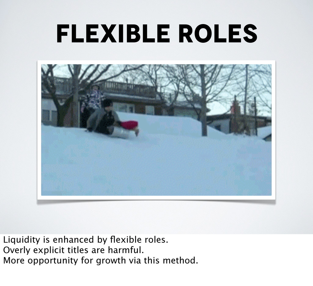 flexible roles Liquidity is enhanced by flexible...