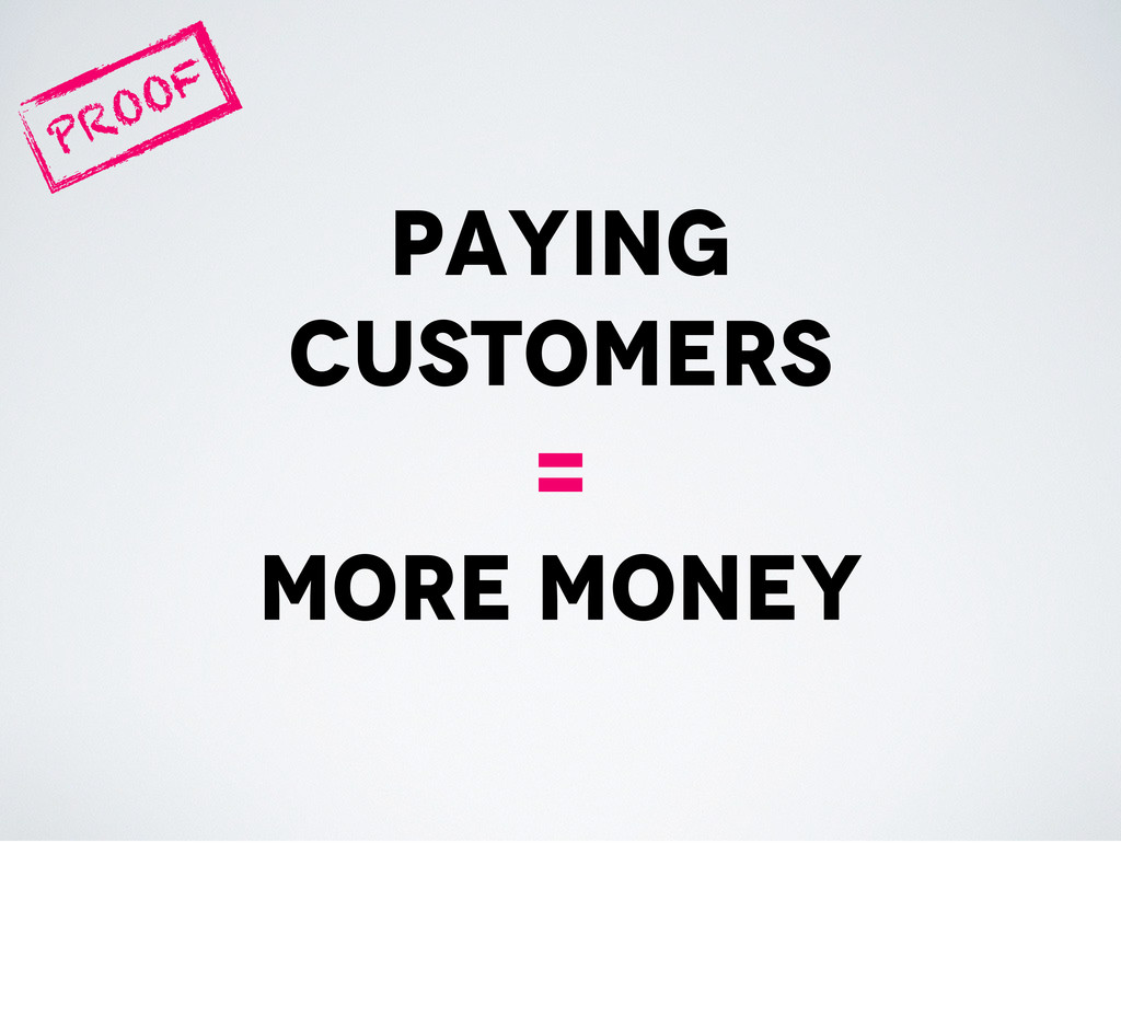 paying customers = more money PROOF