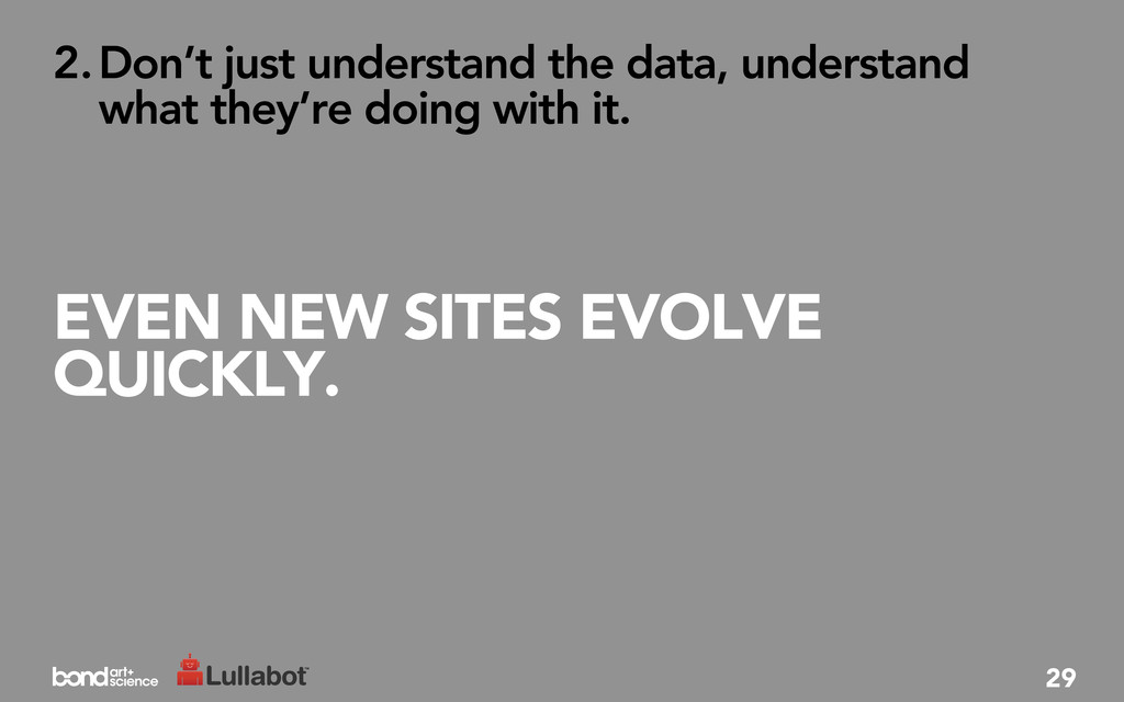 EVEN NEW SITES EVOLVE QUICKLY. 2.Don't just und...