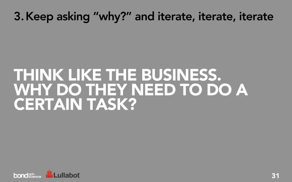 THINK LIKE THE BUSINESS. WHY DO THEY NEED TO DO...