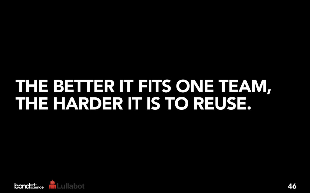 THE BETTER IT FITS ONE TEAM, THE HARDER IT IS T...