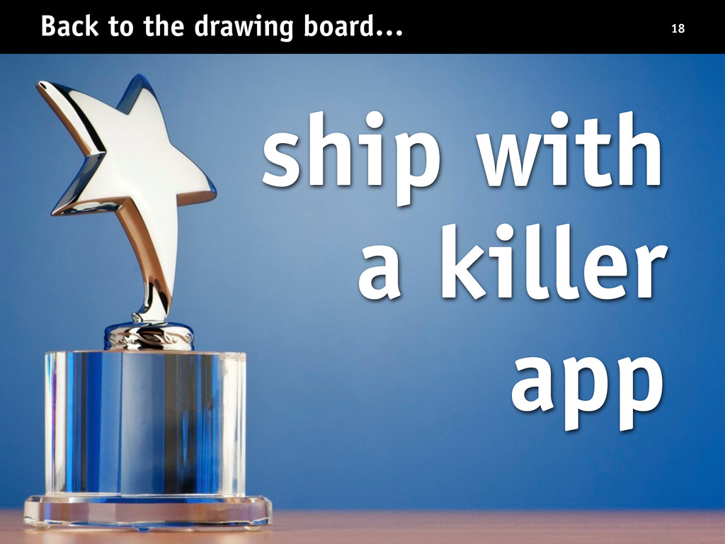 Back to the drawing board… 18 ship with a kille...