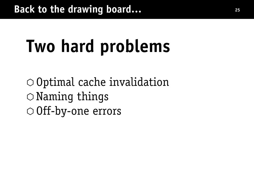 Back to the drawing board… Two hard problems 25...