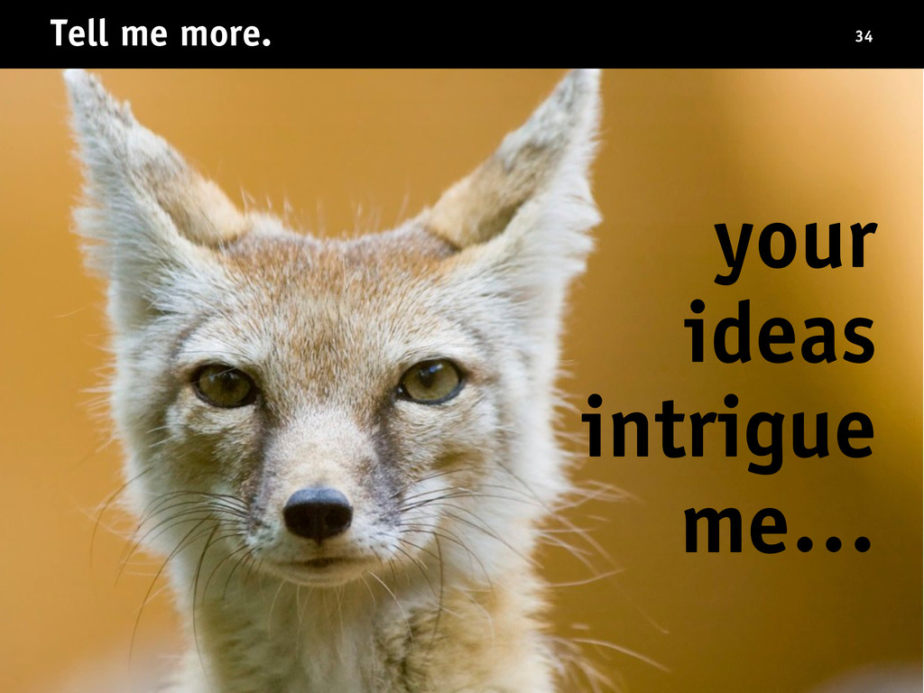 Tell me more. your ideas intrigue me… 34