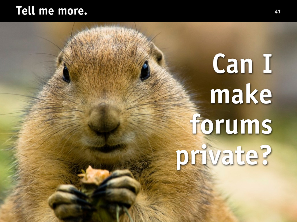 Tell me more. 41 Can I make forums private?
