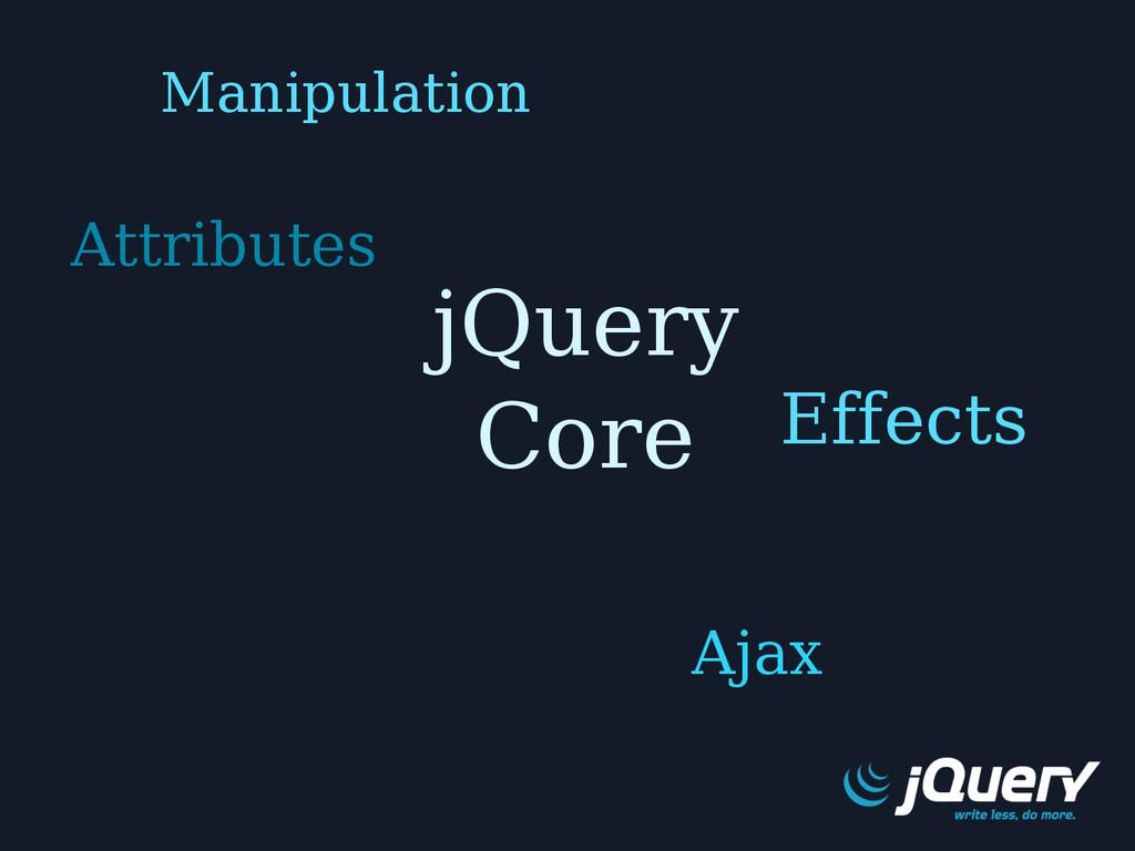 jQuery Core Effects Manipulation Attributes Ajax