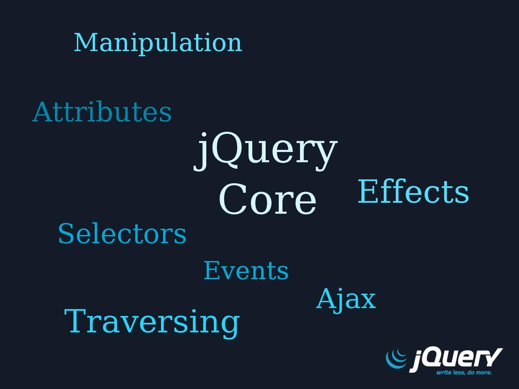 jQuery Core Events Selectors Traversing Effects...