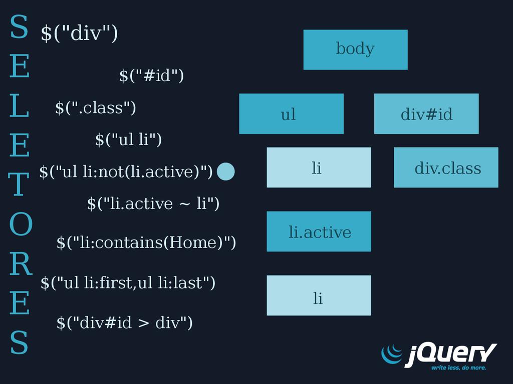 """$(""""div"""") $(""""#id"""") $("""".class"""") $(""""div#id > div"""")..."""