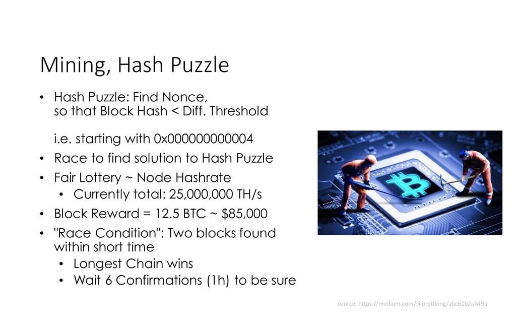Mining, Hash Puzzle • Hash Puzzle: Find Nonce, ...