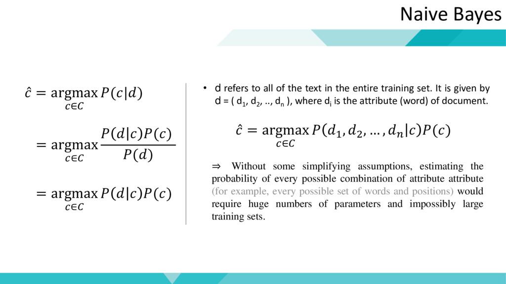 Naive Bayes  = argmax ∈ (|) = argmax ∈    () ()...