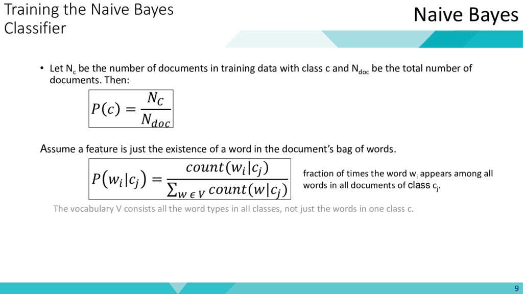 Training the Naive Bayes Classifier • Let Nc be...