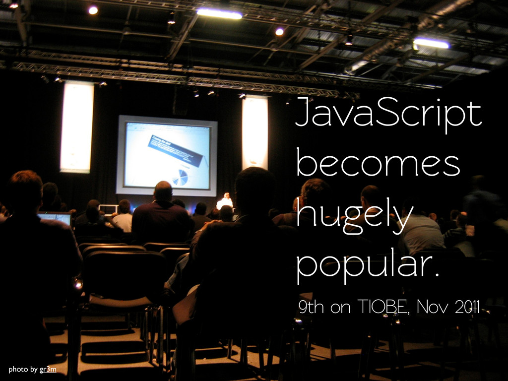 JavaScript becomes hugely popular. 9th on TIOBE...