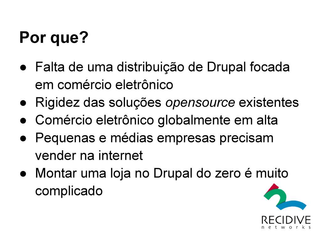 Por que? ● Falta de uma distribuição de Drupal ...